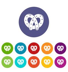 Pretzel icons set color vector