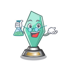 Professor acrylic trophy isolated with mascot vector