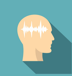 profile of the head with sound wave inside icon vector image