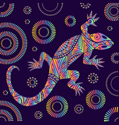 Psychedelic lizard with many ornaments bright vector
