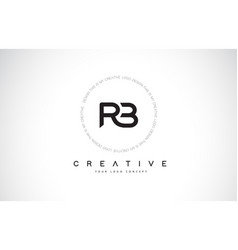 Rb r b logo design with black and white creative vector