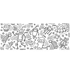 robot doodle print set space objects robot vector image