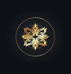 Round luxury logo mandala vintage gold floral sign vector
