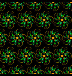 seamless abstract floral orange-green pattern vector image