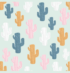 seamless pattern with cactuses and hand drawn vector image
