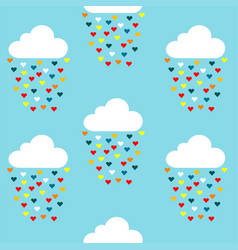 seamless pattern with clouds and colored hearts vector image