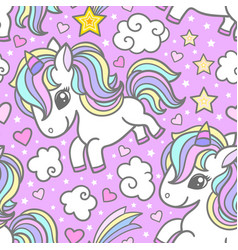 seamless pattern with cute unicorns clouds stars vector image