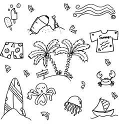 Seaside element of doodle vector