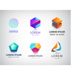 set abstract geometric 3d logos shapes vector image