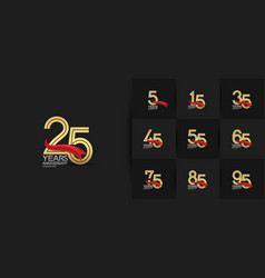 Set anniversary logo style with multiple line vector