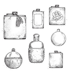 Set different drinking hip flasks drawing vector