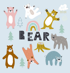 set grizzly bearscreative scandinavian style vector image