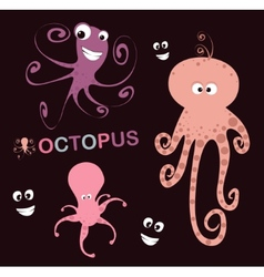 set of 3 lovely octopus vector image