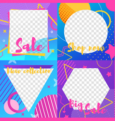 set social media template with sale and news info vector image