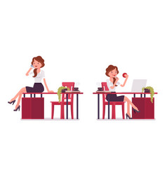Sexy secretary with phone and lipstick vector