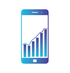 smart phone with statistics graph chart screen vector image