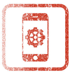 Smartphone options gear framed textured icon vector