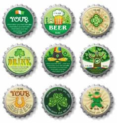 St. Patrick's Day bottle caps vector