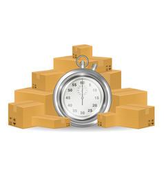 stopwatch with shipping carton box vector image