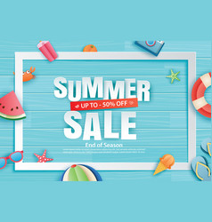 summer sale with decoration origami on blue vector image
