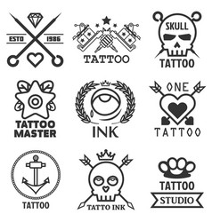 Tattoo studio salon icon templates skull vector