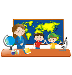 teacher and two students in geography class vector image