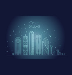 Texas dallas architecture line skyline vector