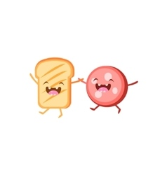 Toast And Meat Cartoon Friends vector image