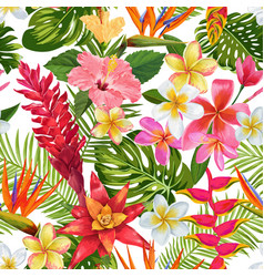 Tropical flowers and palm leaves seamless pattern vector