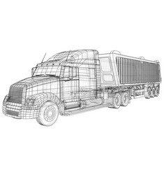 Truck with trailer isolated on white vector