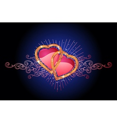 Two love hearts valentine and wedding vector