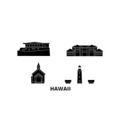 united states maui flat travel skyline set vector image