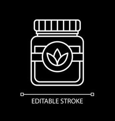 Vegan sauce white linear icon for dark theme vector