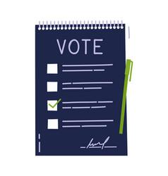 vote document bulletin concept cute cartoon list vector image