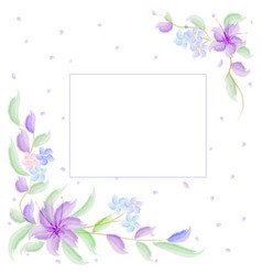 watercolor flowers are purple for wedding invitat vector image