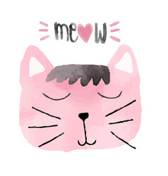 Watercolour pink funny cat idea for card vector