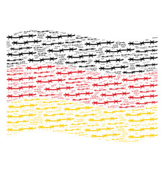 waving german flag collage of barbed wire items vector image
