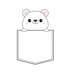 white bear head face in the pocket pink cheeks vector image