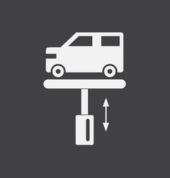White icon on black background car on the lift vector