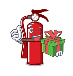 With gift fire extinguisher mascot cartoon vector