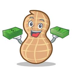 With money peanut character cartoon style vector
