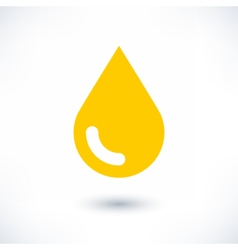 Yellow color drop icon with gray shadow on white vector