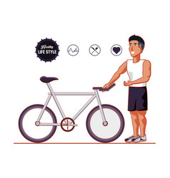 young athlete training sport with healthy vector image
