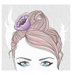Young girl with flower in hair vector