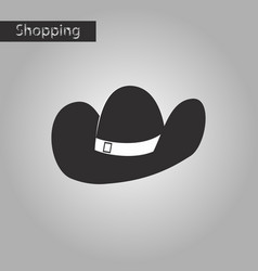 black and white style icon cowboy hat vector image