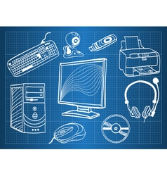Blueprint of computer hardware - peripheral device vector image