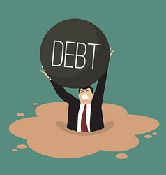 Businessman with heavy debt sinking in a quicksand vector image
