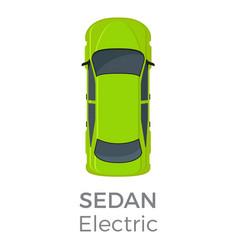 Electric sedan top view flat icon vector