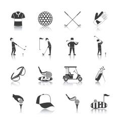 Golf Black White Icons Set vector image