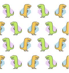 seamless dinosaur pattern funny cute dino vector image